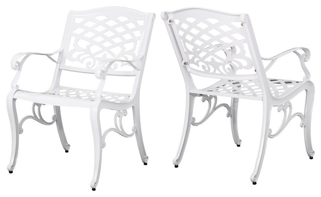 Swell Gdf Studio Brody Outdoor White Cast Aluminum Arm Chair White Set Of 2 Gmtry Best Dining Table And Chair Ideas Images Gmtryco