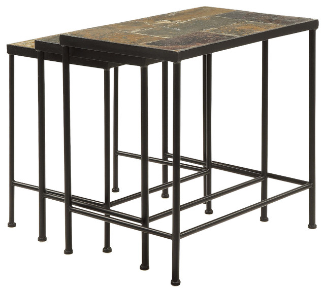 Verona 3 Piece Nesting Table Set, Slate