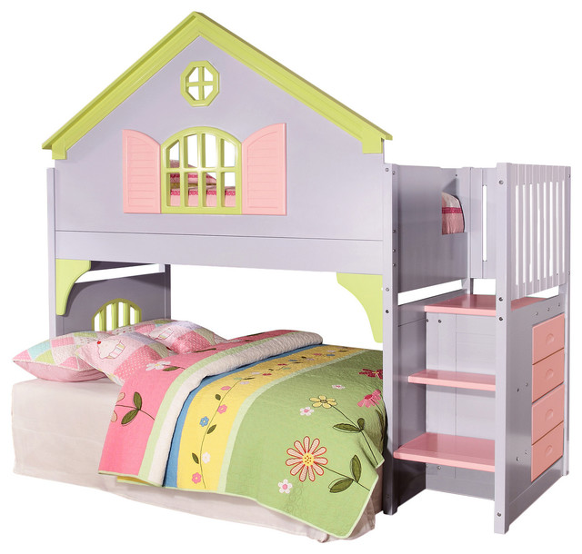 Girls Loft Bed With Stairs Drawers Amp Magazine Rack