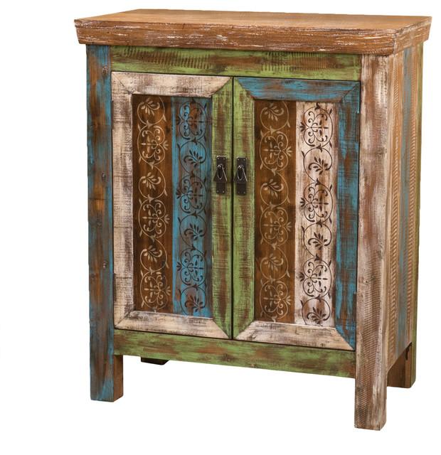Leo Wooden 2-Door Cabinet, Antique Dark Green - Farmhouse - Accent ...