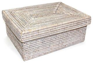 Matahari White Wash Rattan Rectangular Storage Basket With Lid Small View In Your Room Houzz