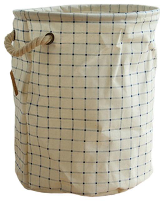 Japanese Style Foldable Storage Basket, Bag, Organizer Laundry Hamper With Rope.
