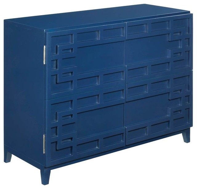 Hammary Furniture Door Cabinet Navy Blue Finish Accent