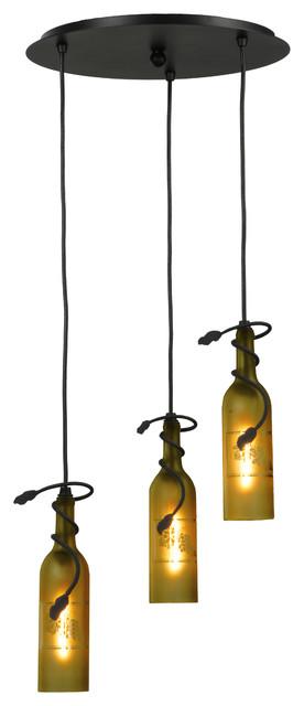 16 Tuscan Vineyard Etched G 3 Light Wine Bottle Cascading Pendant