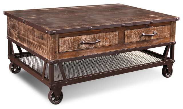 Delicieux Addison Loft Rustic Solid Wood Coffee Table On Casters