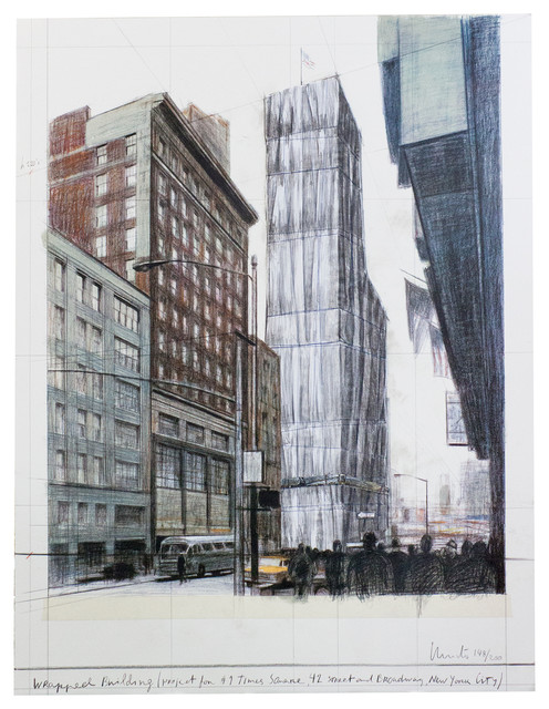 Javacheff Christo, Wrapped Building Times Square, 2004, Signed