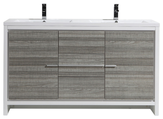 60 Double Sink Bathroom Vanity. 60  Double Acrylic Sink Bathroom Vanity High Gloss Ash Gray contemporary bathroom moreno dolce Moreno Dolce Modern