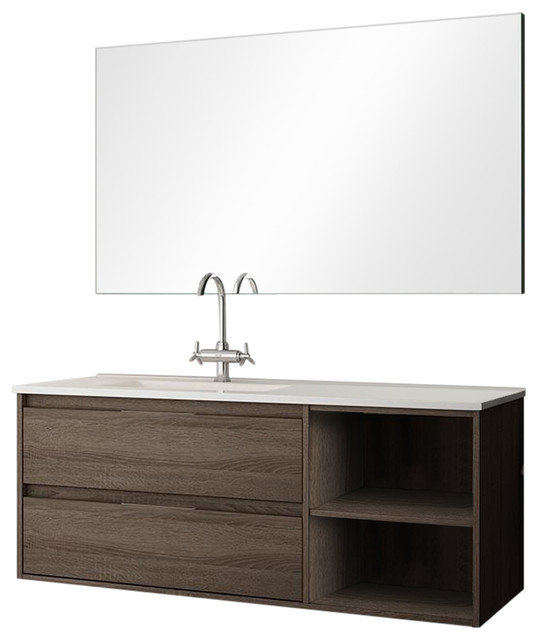 Neo 2-Drawer Bathroom Vanity Unit, Britannia Finish, 80 cm
