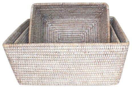 White Wash Rattan Rectangular Storage Baskets Set Of 3