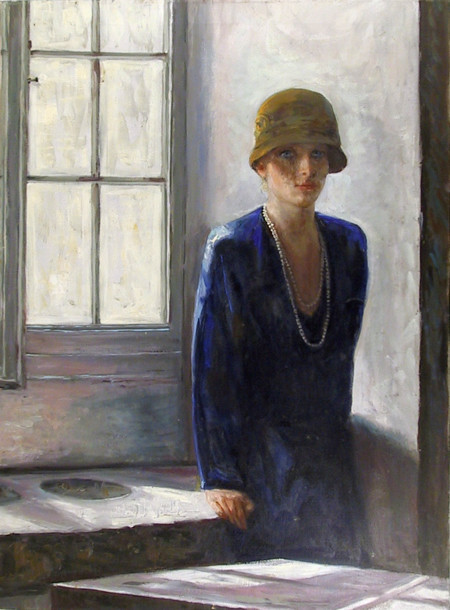Marshall Goodman Woman In Hat By Window Oil Painting