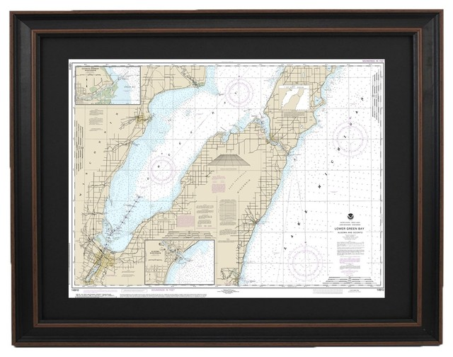 Framed Nautical Chart Lake Michigan Lower Green Bay 24x18 Beach Style Prints And Posters By Topo Maps