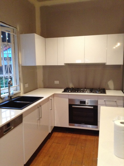 White Kitchen Grey Splashback kitchen splash back