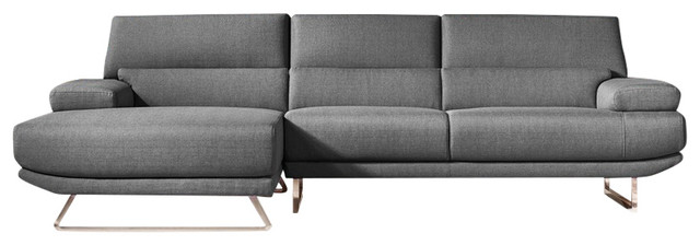 Divani Casa Trinidad Modern Gray Fabric Sectional Sofa.