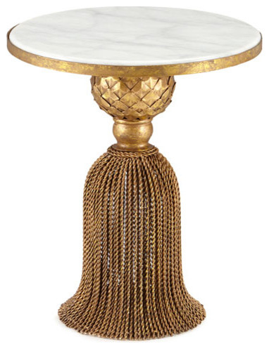 Wrought Iron Antique Style Gold Tassel Table, White Marble Top