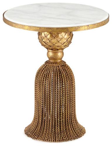 Dr Livingstone I Presume Wrought Iron Antique Style Gold Tel Table White