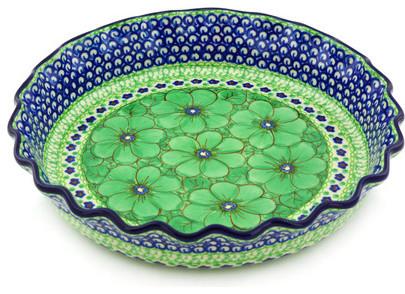"Polmedia Polish Pottery 10"" Stoneware Fluted Pie Dish."