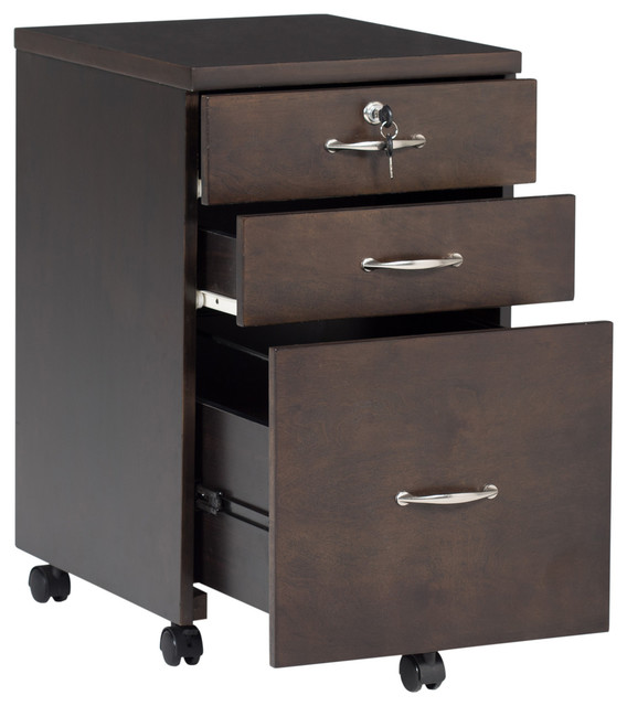 3 Drawer Wooden Mobile Filing Cabinet
