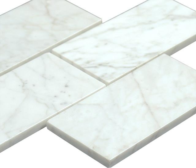 3 X6 Bianco Carrara Polished Marble Subway Tiles Set Of 8