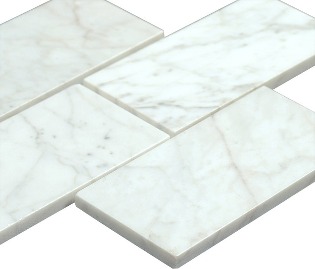 3 X6 Bianco Carrara Polished Marble Subway Tiles Set Of 320 Tiles Traditional Wall And Floor Tile By All Marble Tiles