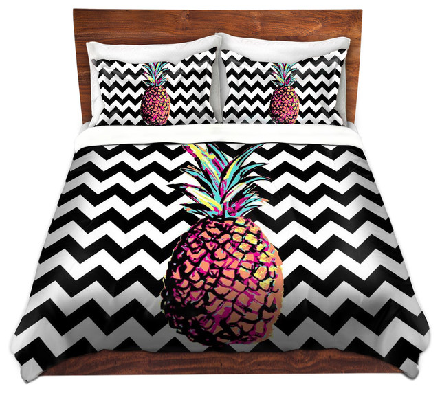 Dianoche Duvet Covers Twill By Organic Saturation Party Pinele Chevron Tropical