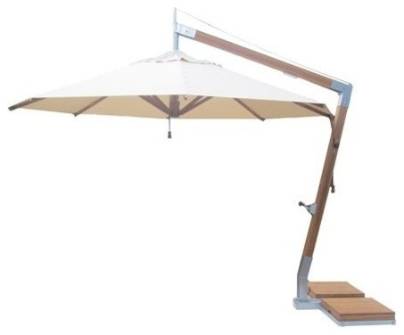 11.5&x27; Round Bamboo Cantilever Umbrella, 310lbs Base System, Ecru Canopy.
