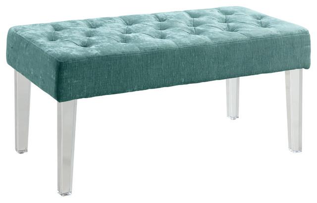 Linon Ella Acrylic Leg Teal Bench, 35x17x18.