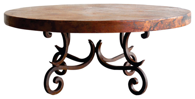 Mexports By Sm Round Wrought Iron Coffee Table With 48 Round Hand Hammered Copper Top View