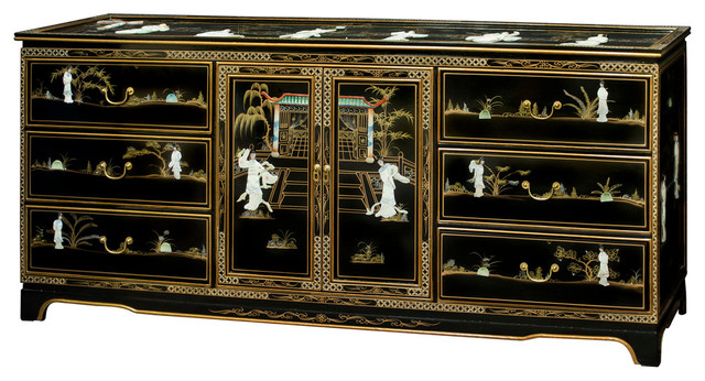 """72"""" Black Lacquer Mother Of Pearl Motif Sideboard."""