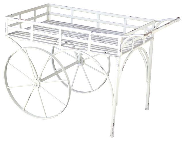Metal Garden Cart, White Rustic Wheelbarrows And Garden Carts