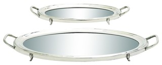Evelyn Stainless Steel and Mirror Trays, Set of 2 contemporary-serving-trays