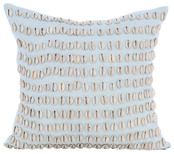 Sea Shell Cotton Linen Light Blue Decorative Pillow Cases Shell