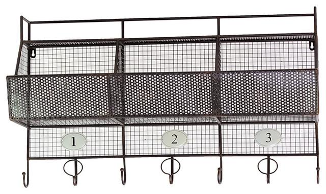 Metal Wall Shelf Mesh Storage Basket Coat Hanger Rack Home Storage Fascinating Metal Wall Coat Rack With Shelf