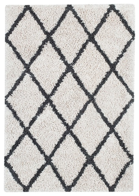 Anji Mountain 5 X8 Ivory Silky Shag Rug With Gray Diamond
