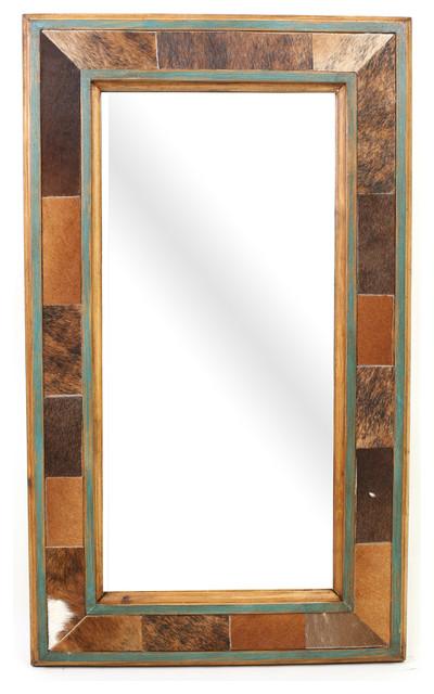 Cibolo Creek Cowhide Rustic Mirror.
