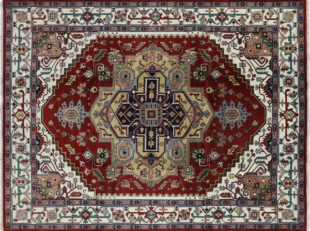 Hand Knotted Heriz Serapi Red Ivory Oriental Wool Area