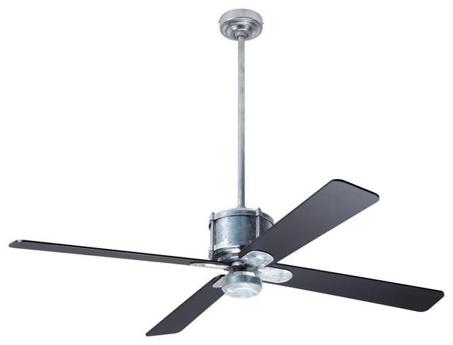 Industry Dc Fan Galvanized Finish 50 Black Blades No Light Industrial Ceiling Fans By The Modern Fan Co Houzz