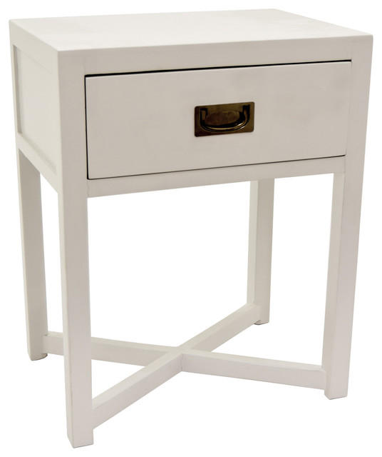 Three Hands Side Table With 1 Drawer White 24