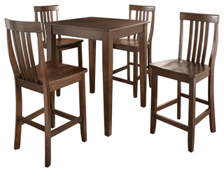Crosley Furniture 5 Piece Pub Dining Set W/ Tapered Leg and School House Stools