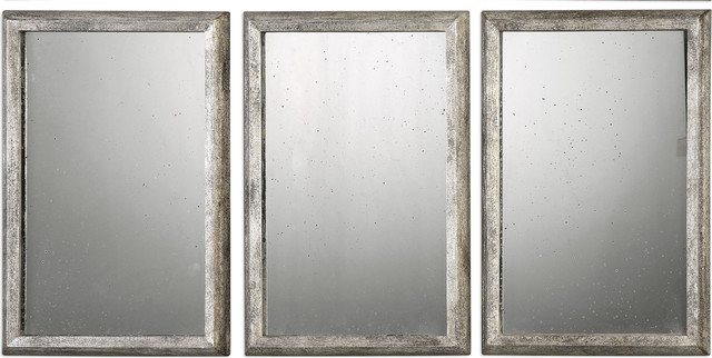 Alcona Antiqued Silver Mirrors, Set Of 3, Silver.