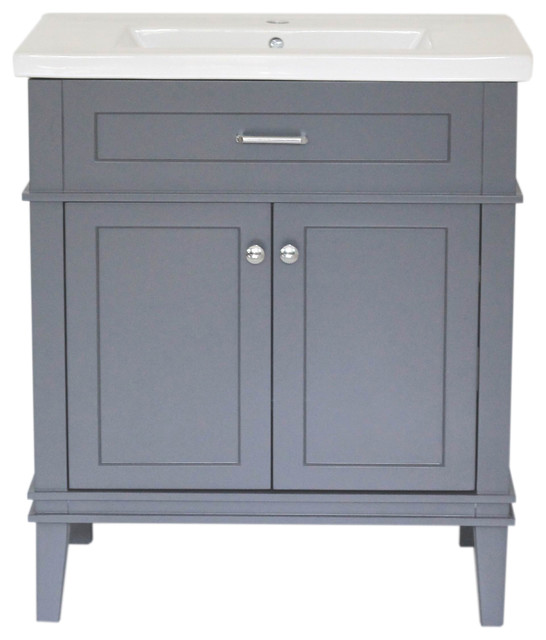 Home Elements Vanity 30x18 25 White Ceramic Top 30 Gray