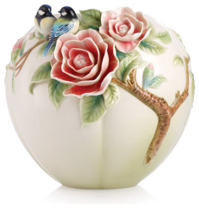 Franz Porcelain Collection Joyful Spring Blue Chickadee And Camellia