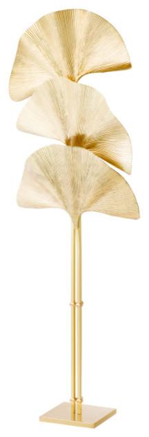 "Brass Floor Lamp, Eichholtz Las Palmas, Gold, 27""x27""x78""."