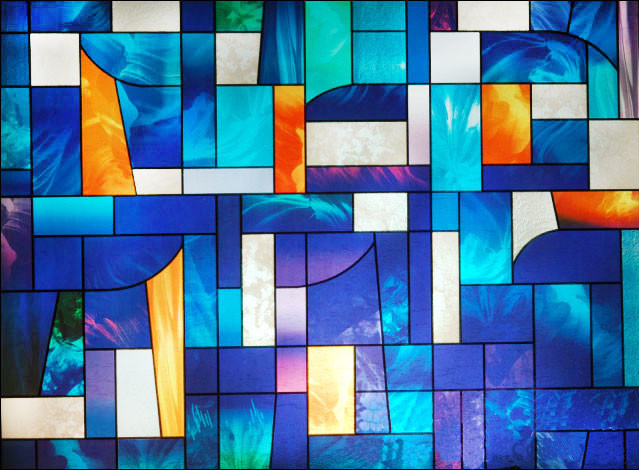 Abstract Stained Glass Window Film.
