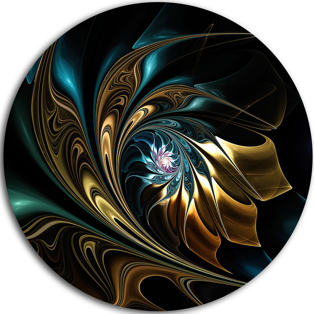 "Brown Blue Fractal Flower In Black, Abstract Disc Metal Wall Art, 23""."