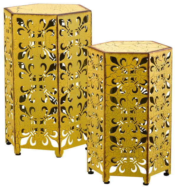 Utica Antique Style Yellow Accent Side Table, Yellow, Set Of 2 Contemporary