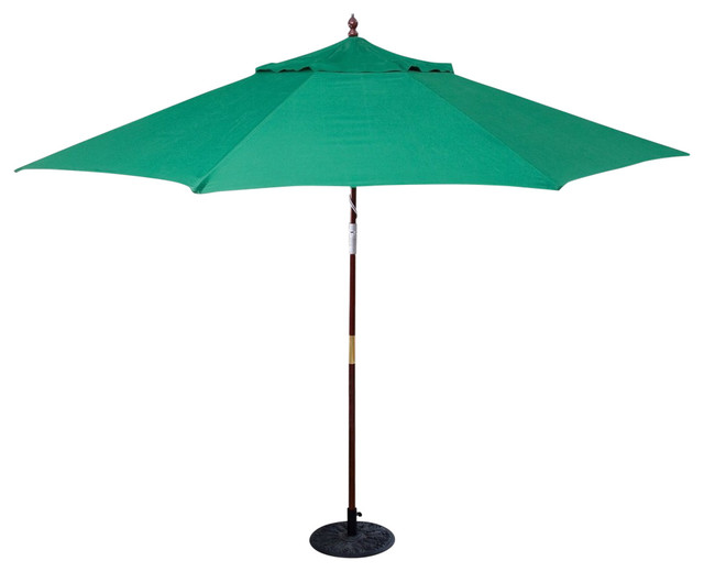 11&x27; Wood Patio Umbrella With Green Canopy, Commercial Grade.
