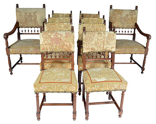 Consigned 19thC French 10 Needlepoint Chairs Traditional Dining Chairs