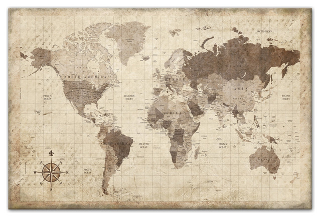 Distressed World Map Canvas Wall Art Traditional Prints And