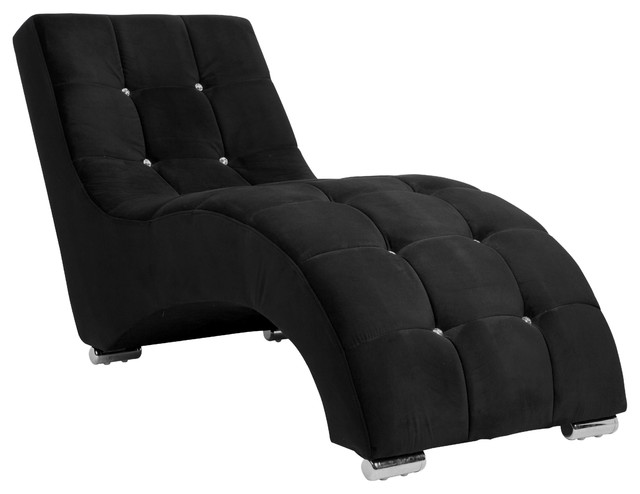 Aria classic tufted lounge chaise contemporary indoor for Black chaise lounge indoor