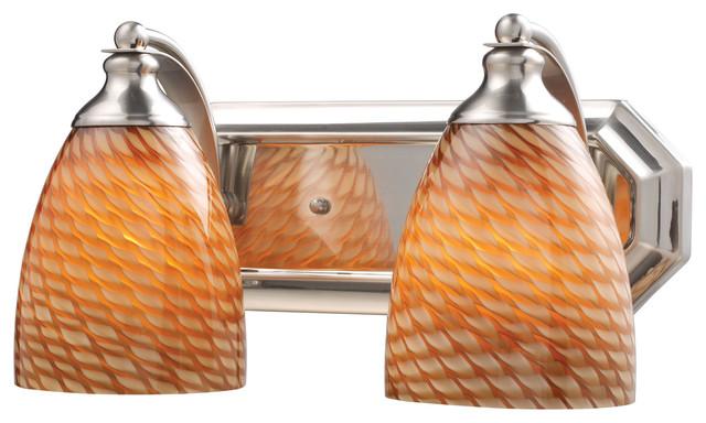 Satin Nickel Ceiling Lights Bathroom Vanity Chandelier: Celina 2-Light Vanity In Satin Nickel And Coco Glass